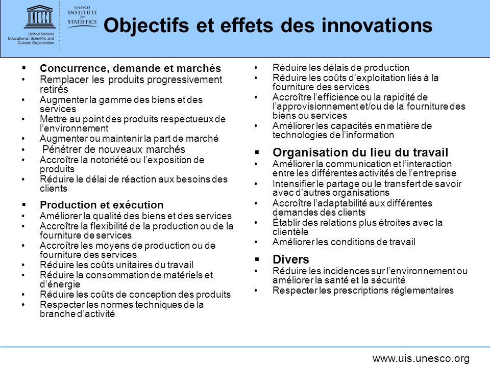Objectifs et effets des innovations