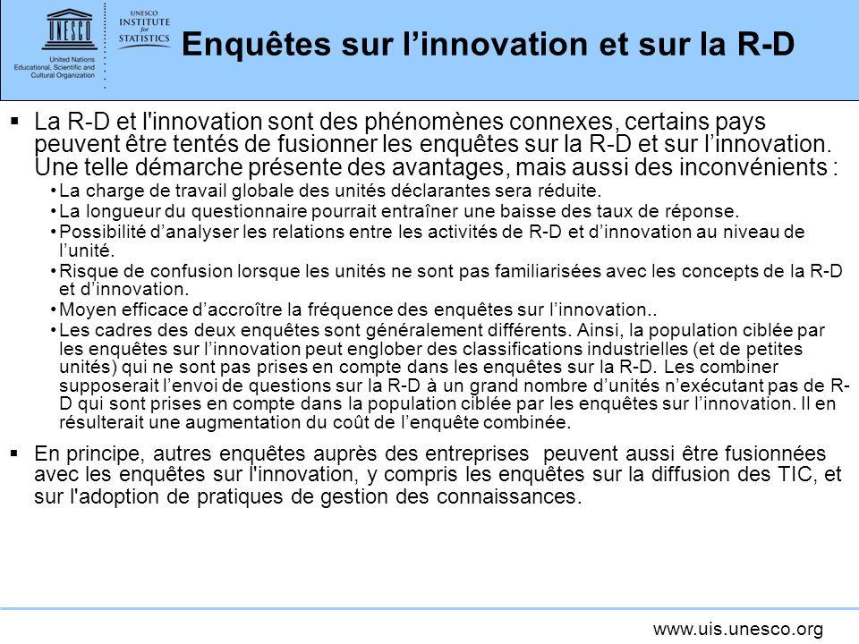 Enquêtes sur l'innovation et sur la R-D