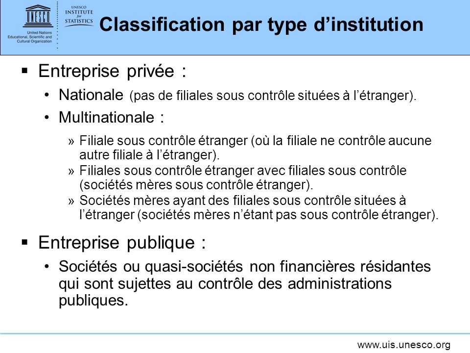 Classification par type d'institution