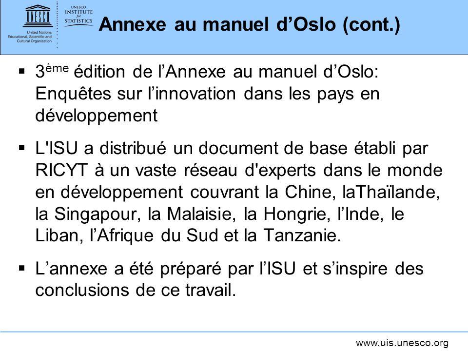 Annexe au manuel d'Oslo (cont.)
