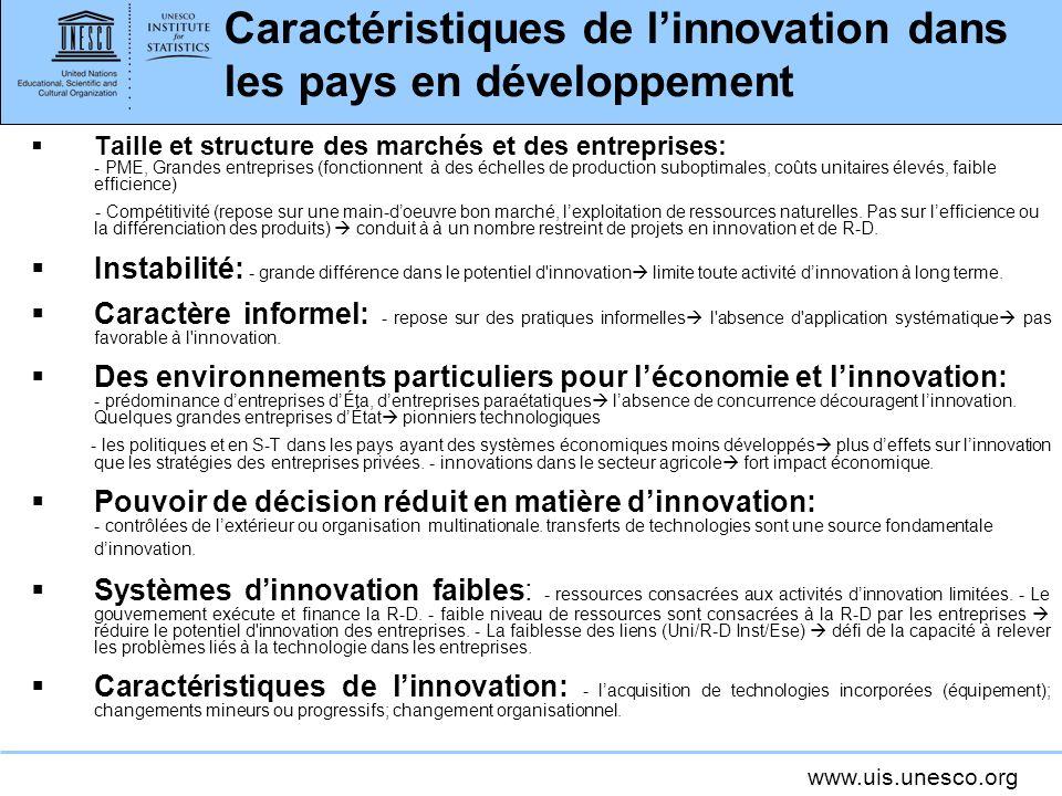 Caractéristiques de l'innovation dans les pays en développement