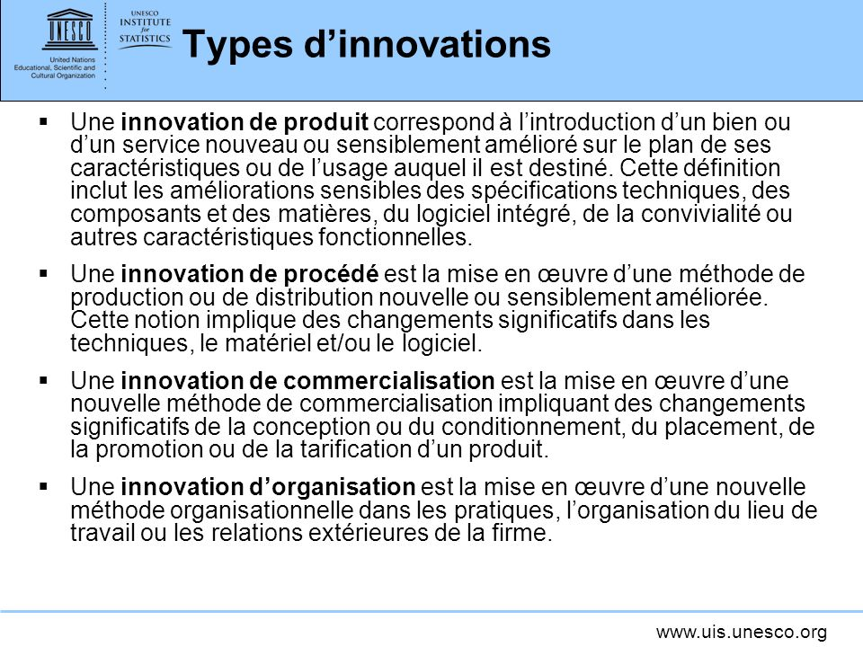 Types d'innovations