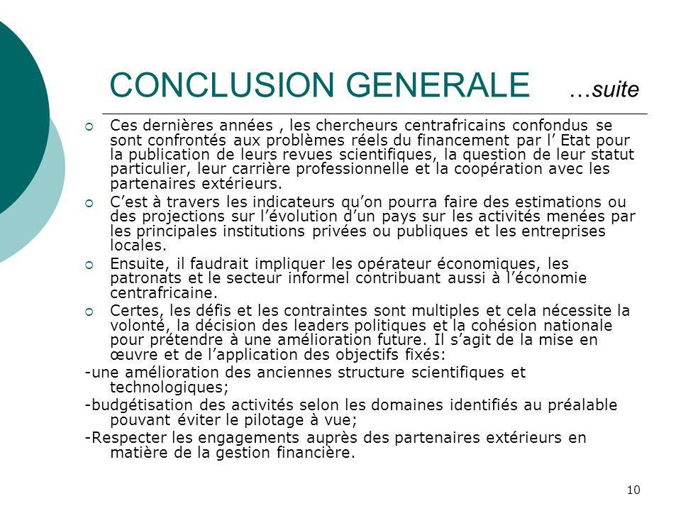 CONCLUSION GENERALE …suite
