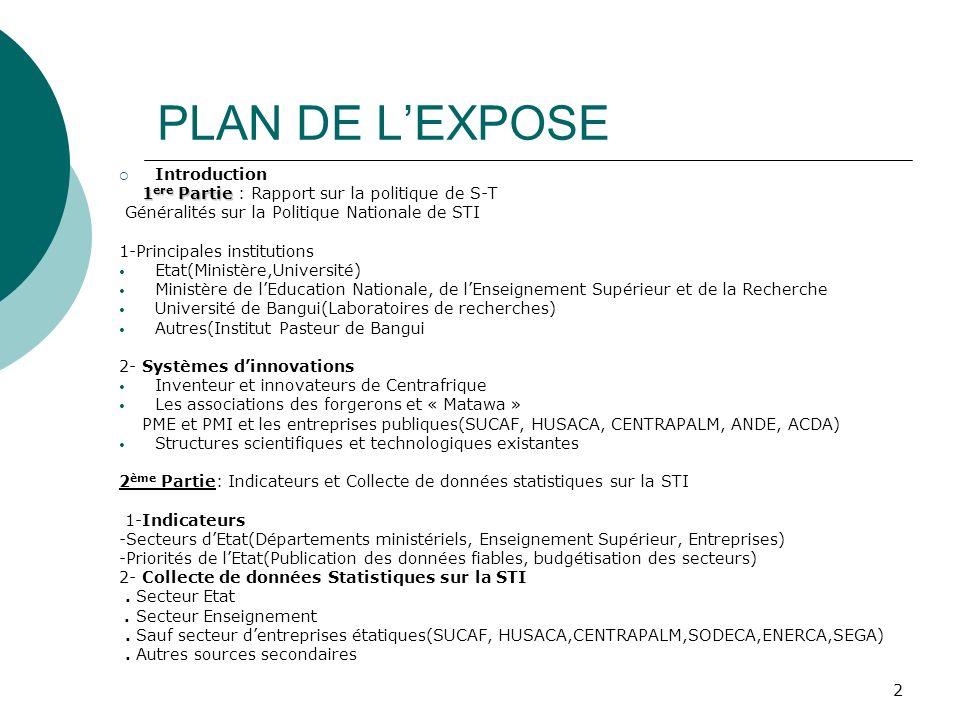 PLAN DE L'EXPOSE Introduction