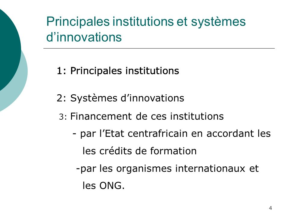 Principales institutions et systèmes d'innovations