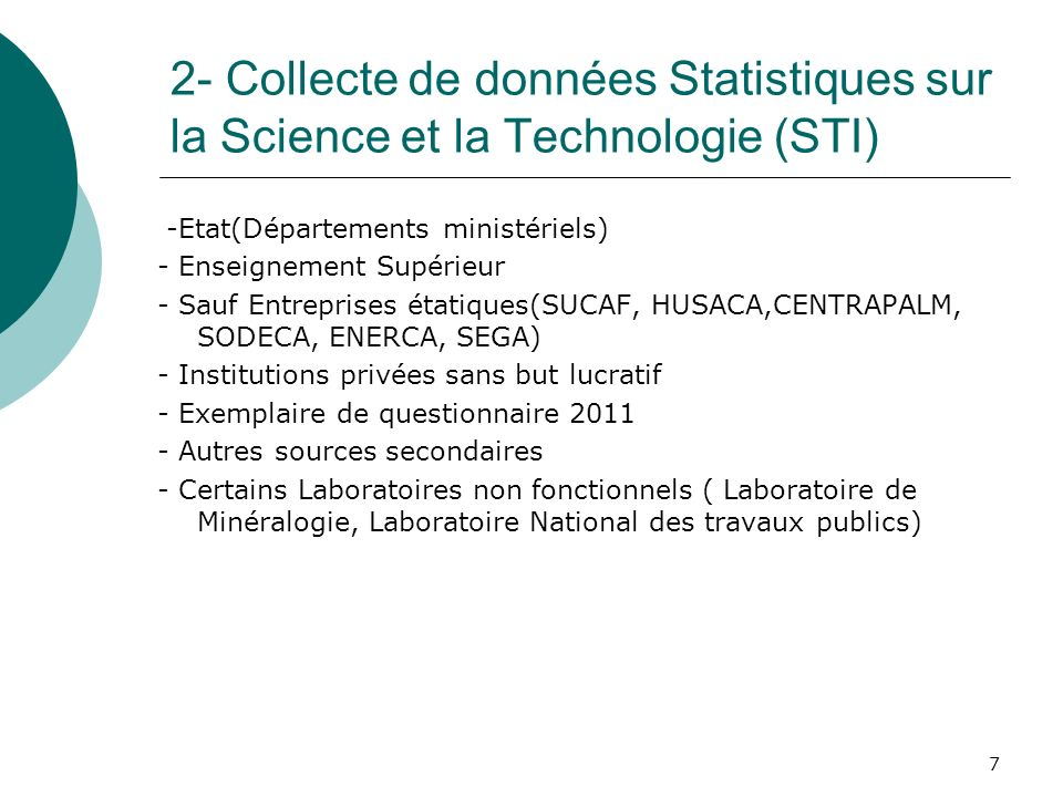 2- Collecte de données Statistiques sur la Science et la Technologie (STI)