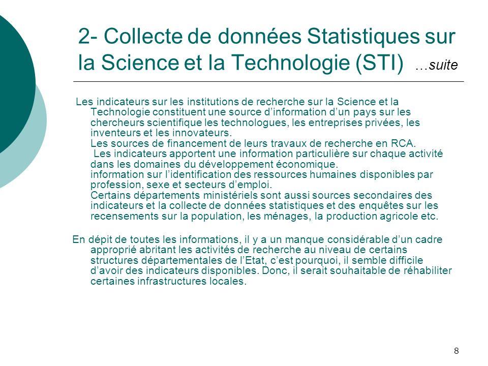 2- Collecte de données Statistiques sur la Science et la Technologie (STI) …suite