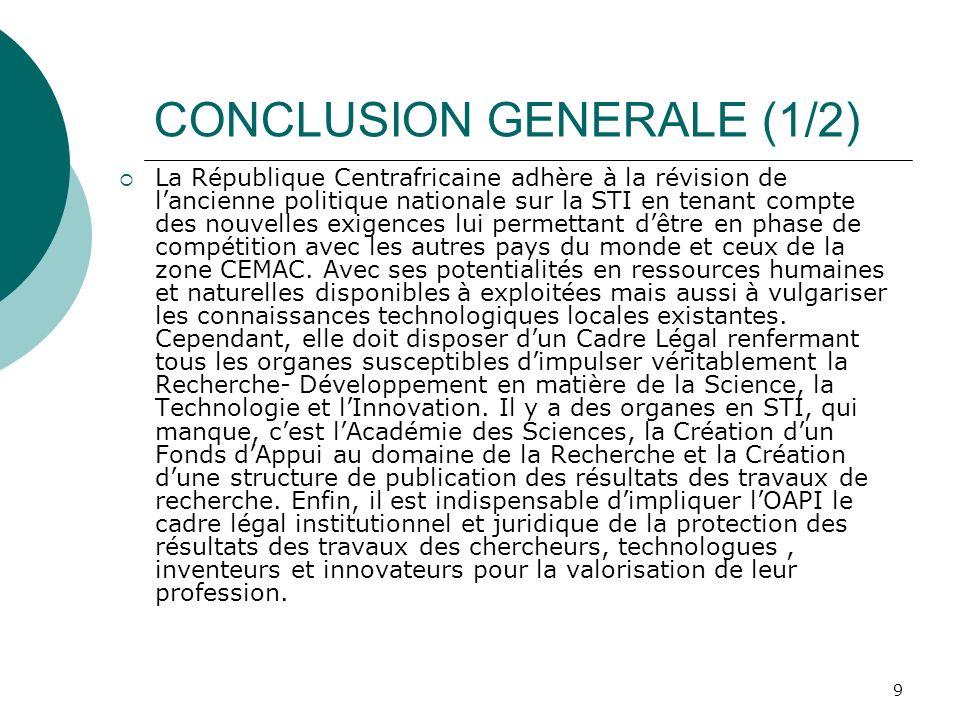 CONCLUSION GENERALE (1/2)