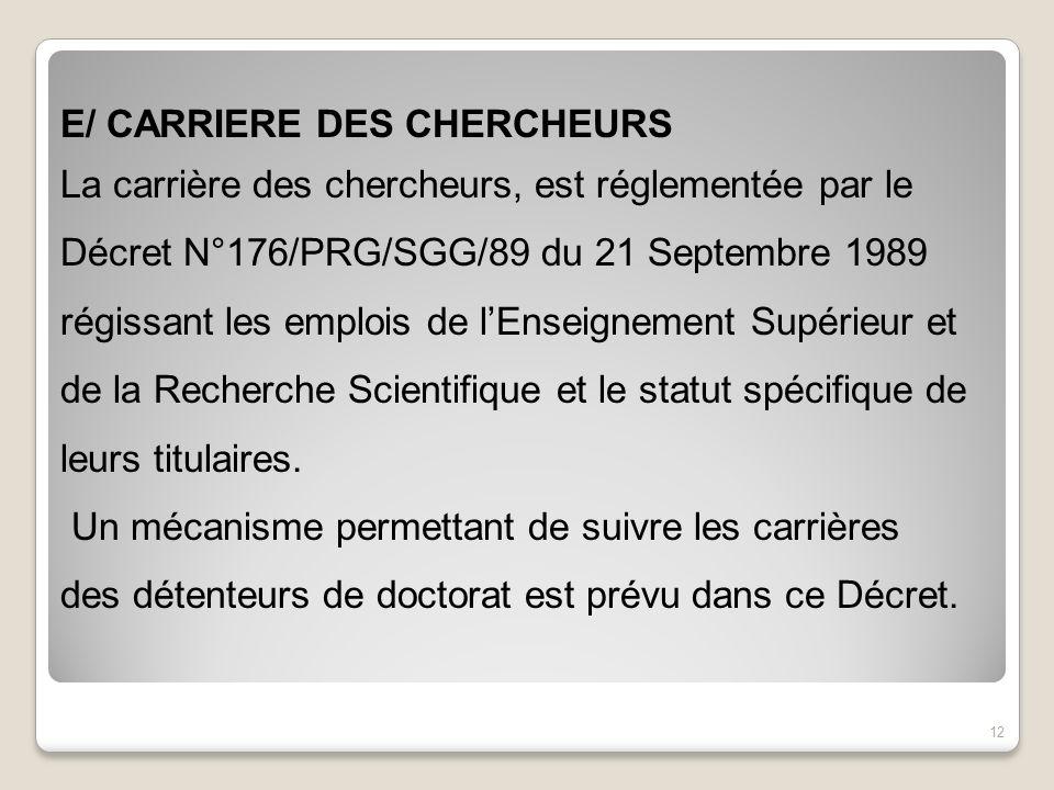 E/ CARRIERE DES CHERCHEURS
