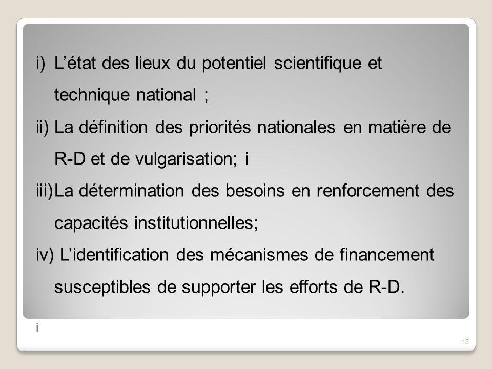L'état des lieux du potentiel scientifique et technique national ;
