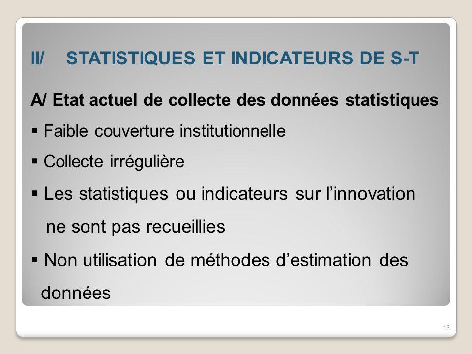 II/ STATISTIQUES ET INDICATEURS DE S-T