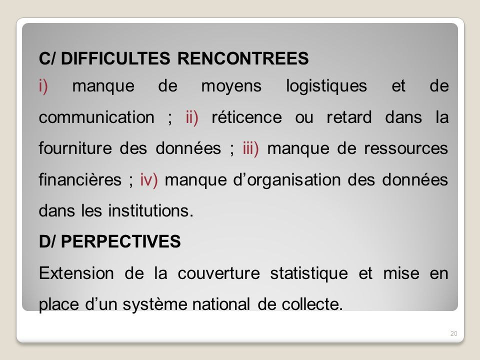 C/ DIFFICULTES RENCONTREES