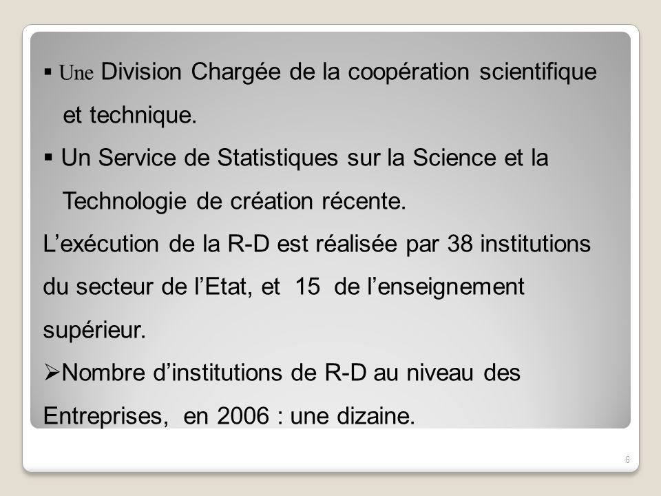 Un Service de Statistiques sur la Science et la