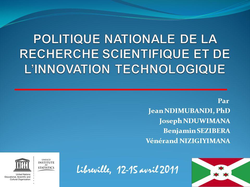 POLITIQUE NATIONALE DE LA RECHERCHE SCIENTIFIQUE ET DE L'INNOVATION TECHNOLOGIQUE