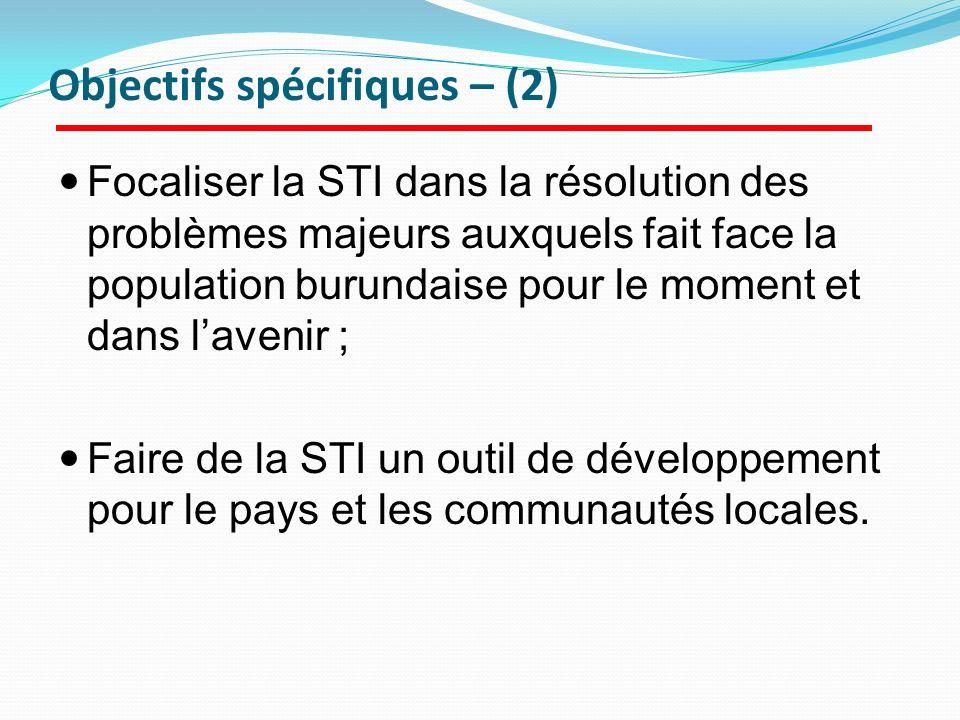 Objectifs spécifiques – (2)