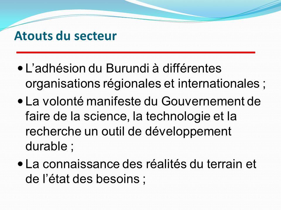 Atouts du secteur L'adhésion du Burundi à différentes organisations régionales et internationales ;