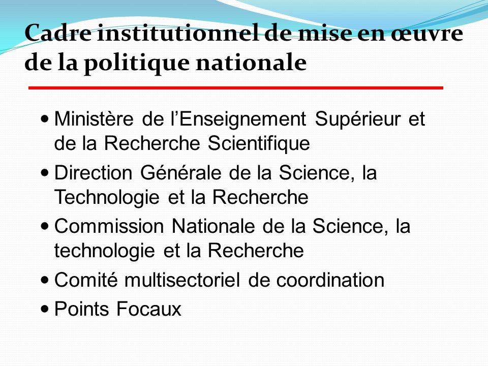 Cadre institutionnel de mise en œuvre de la politique nationale