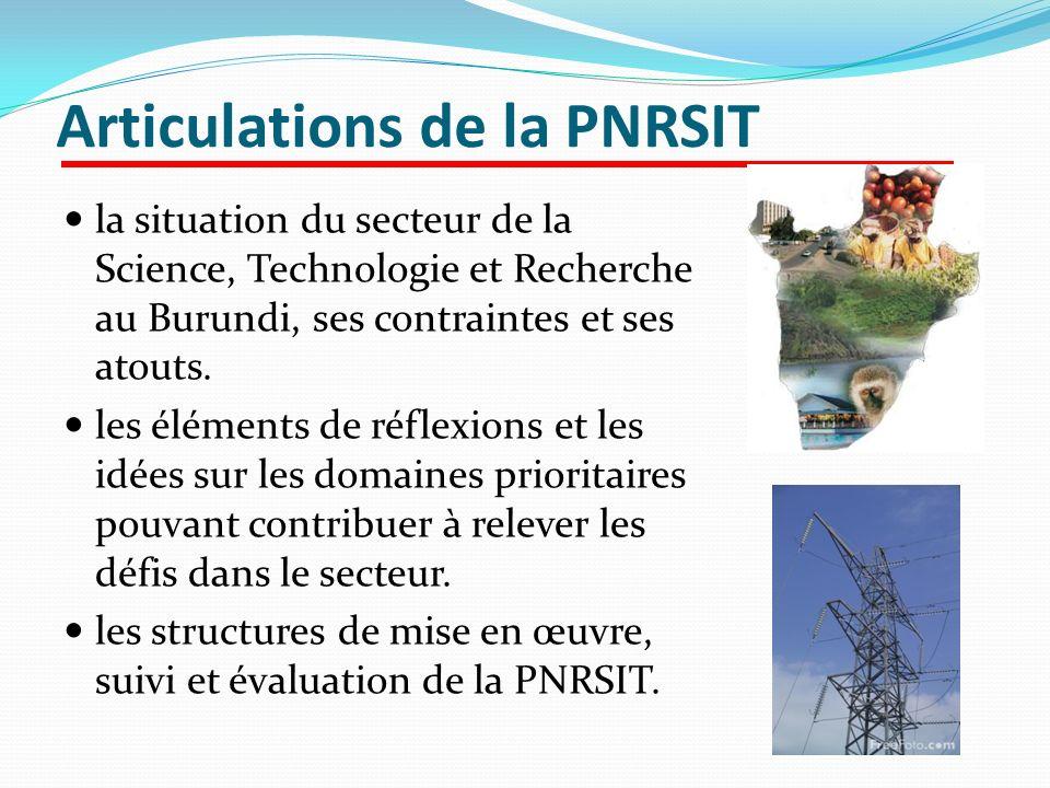 Articulations de la PNRSIT