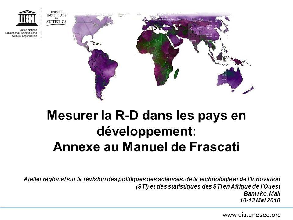 Mesurer la R-D dans les pays en développement: Annexe au Manuel de Frascati