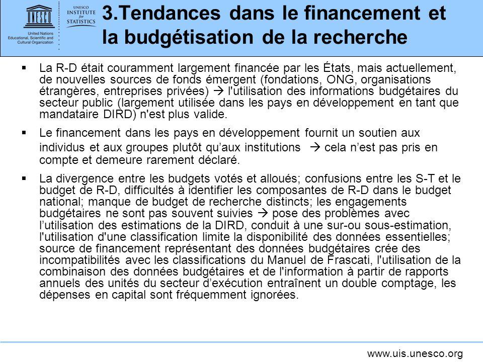 3.Tendances dans le financement et la budgétisation de la recherche