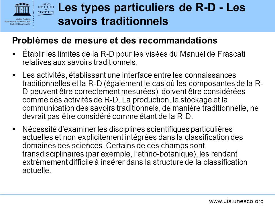 Les types particuliers de R-D - Les savoirs traditionnels