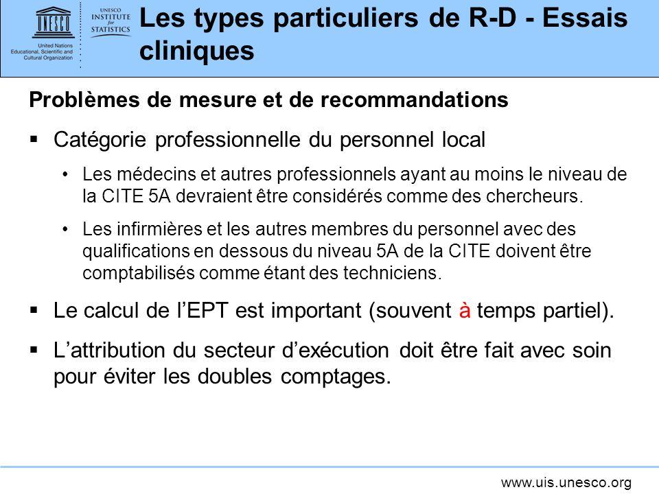 Les types particuliers de R-D - Essais cliniques