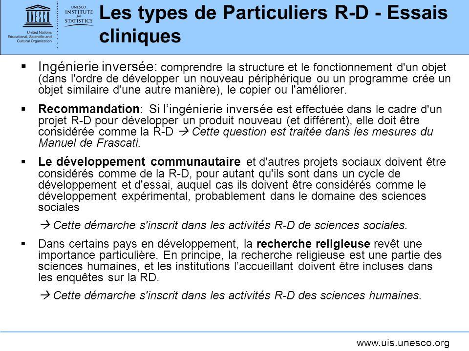Les types de Particuliers R-D - Essais cliniques