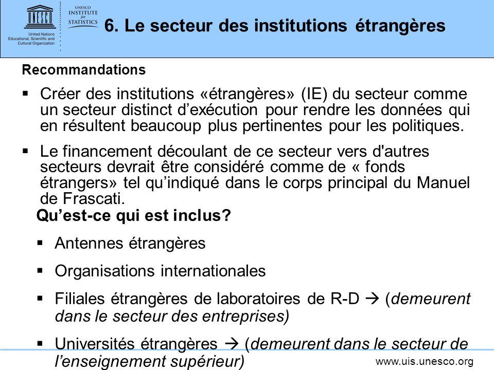6. Le secteur des institutions étrangères