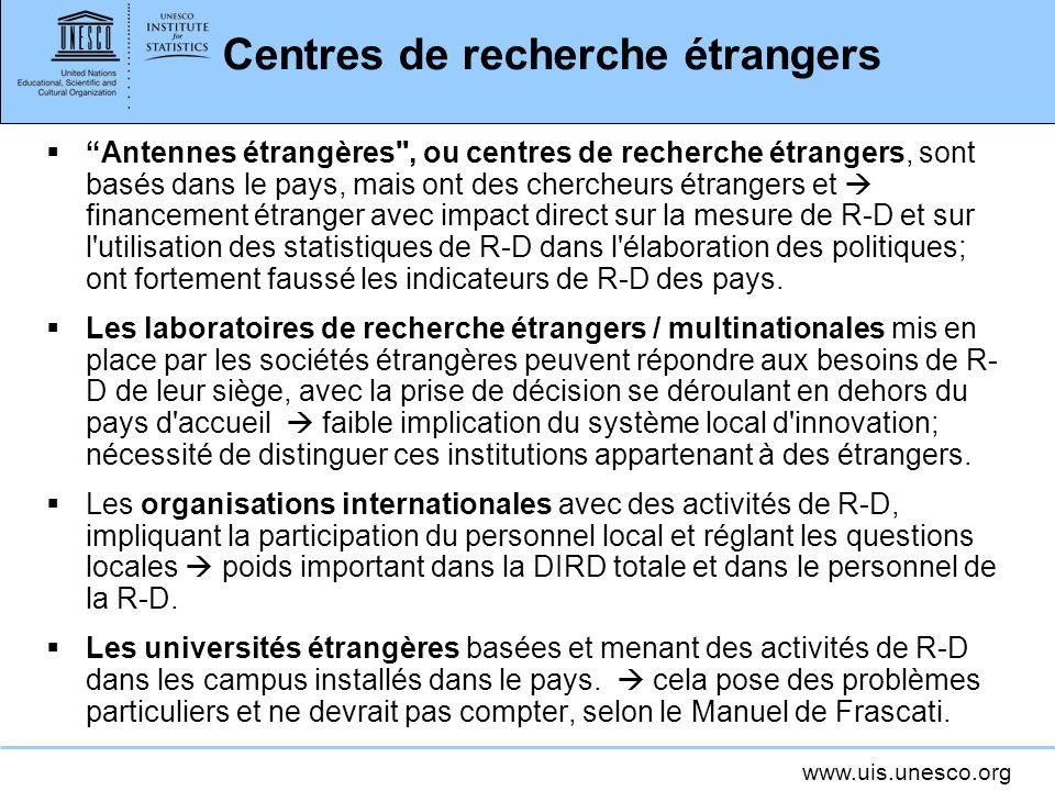 Centres de recherche étrangers