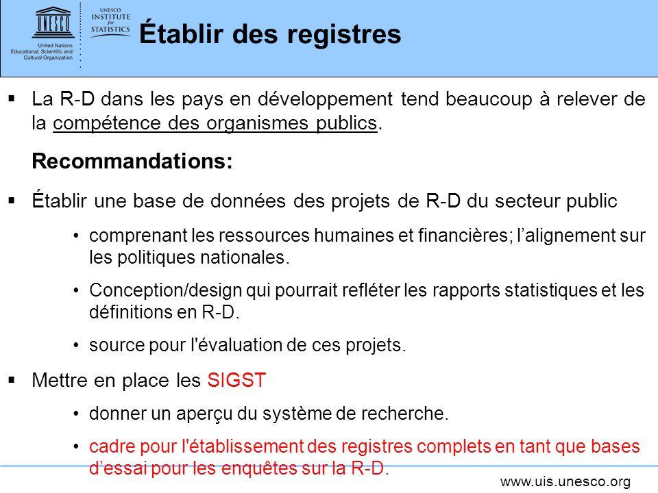 Établir des registres Recommandations: