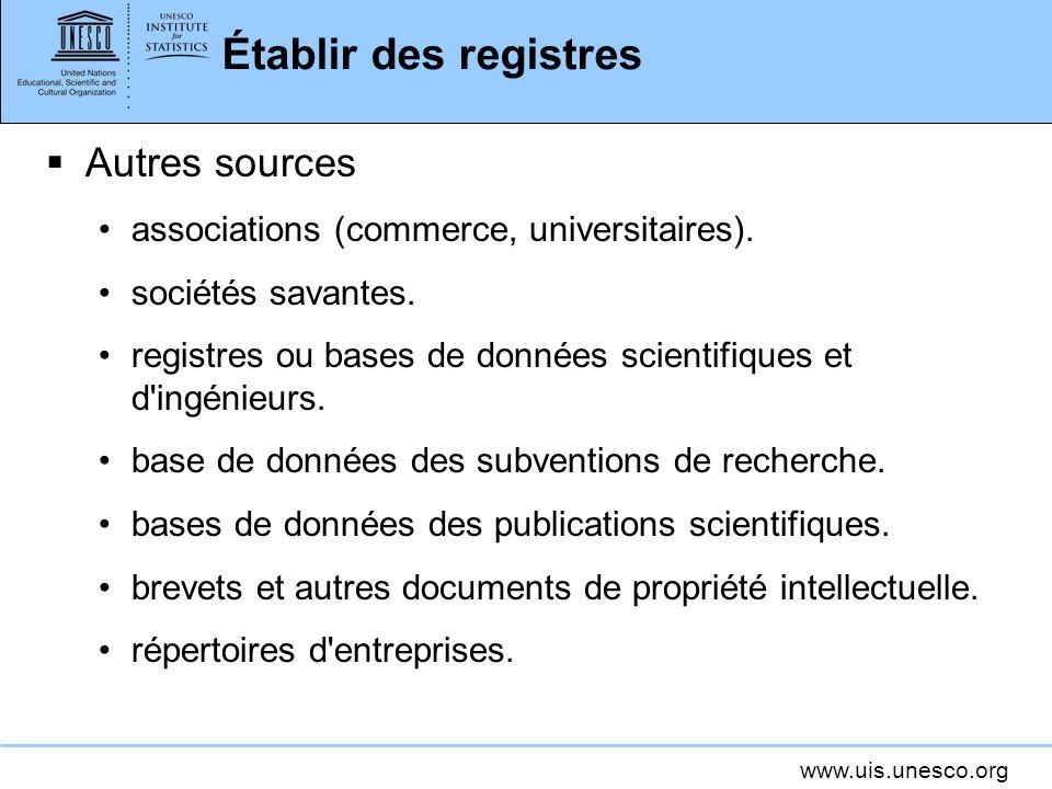 Établir des registres Autres sources