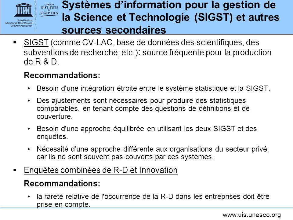 Systèmes d'information pour la gestion de la Science et Technologie (SIGST) et autres sources secondaires