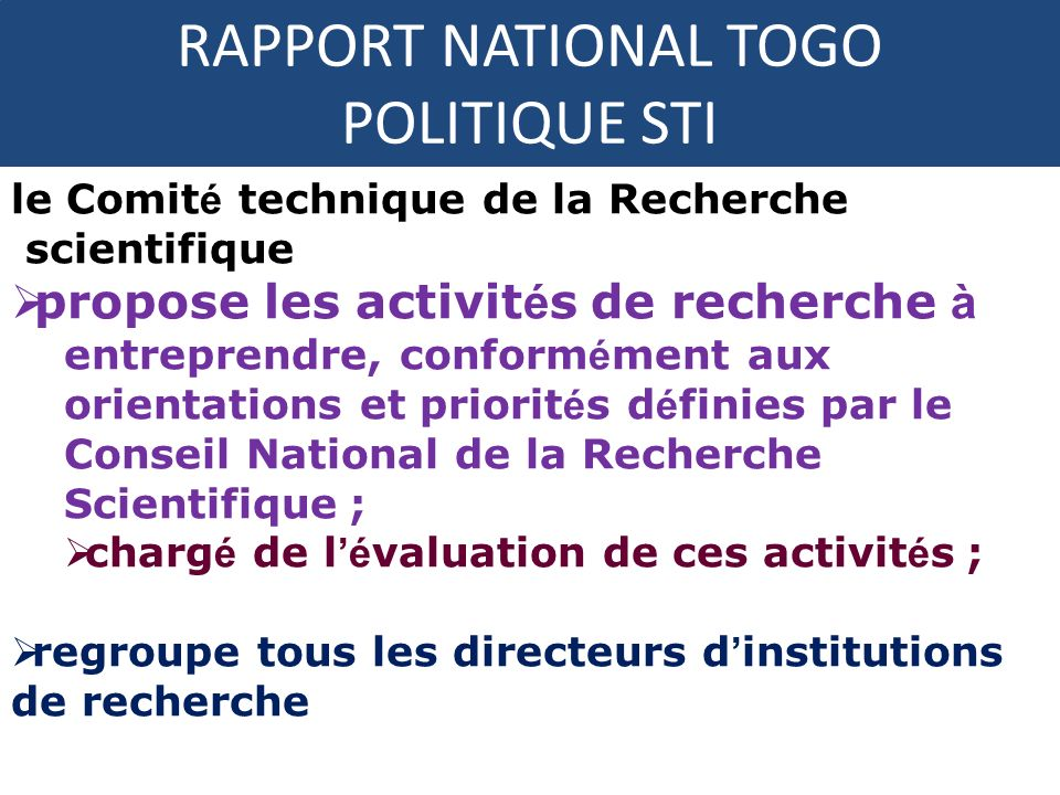 RAPPORT NATIONAL TOGO POLITIQUE STI