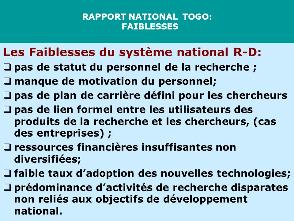 RAPPORT NATIONAL TOGO: FAIBLESSES