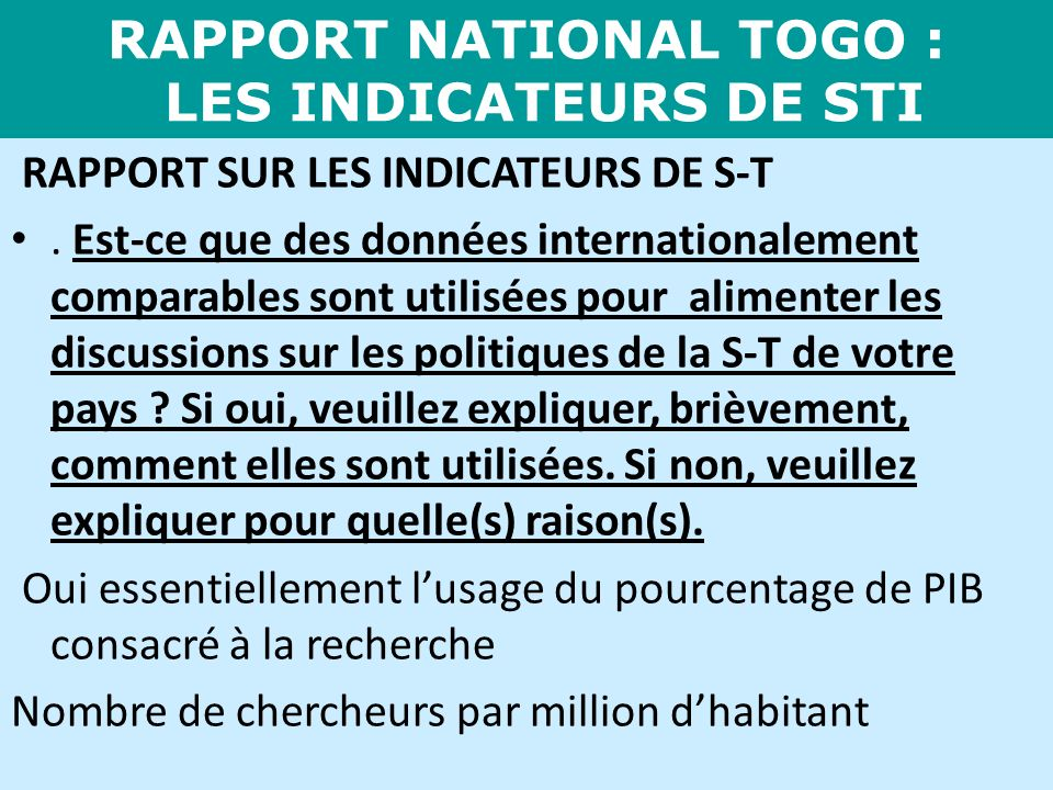 RAPPORT NATIONAL TOGO : LES INDICATEURS DE STI