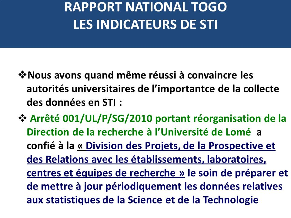 RAPPORT NATIONAL TOGO LES INDICATEURS DE STI