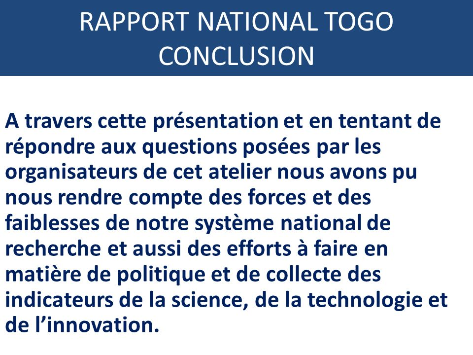 RAPPORT NATIONAL TOGO CONCLUSION