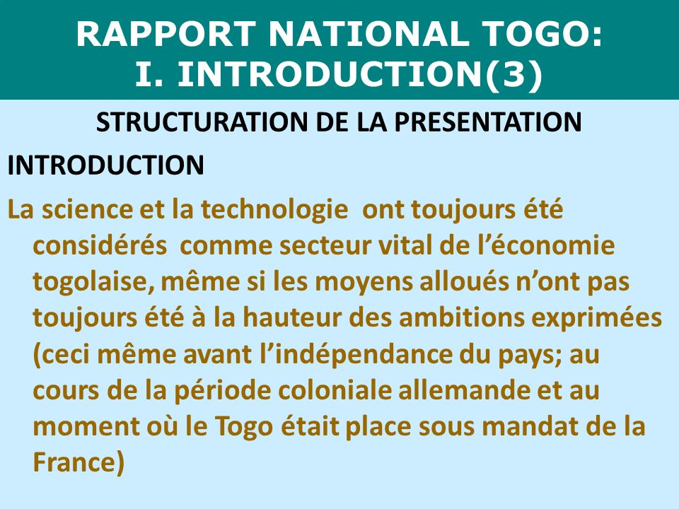 RAPPORT NATIONAL TOGO: I. INTRODUCTION(3)