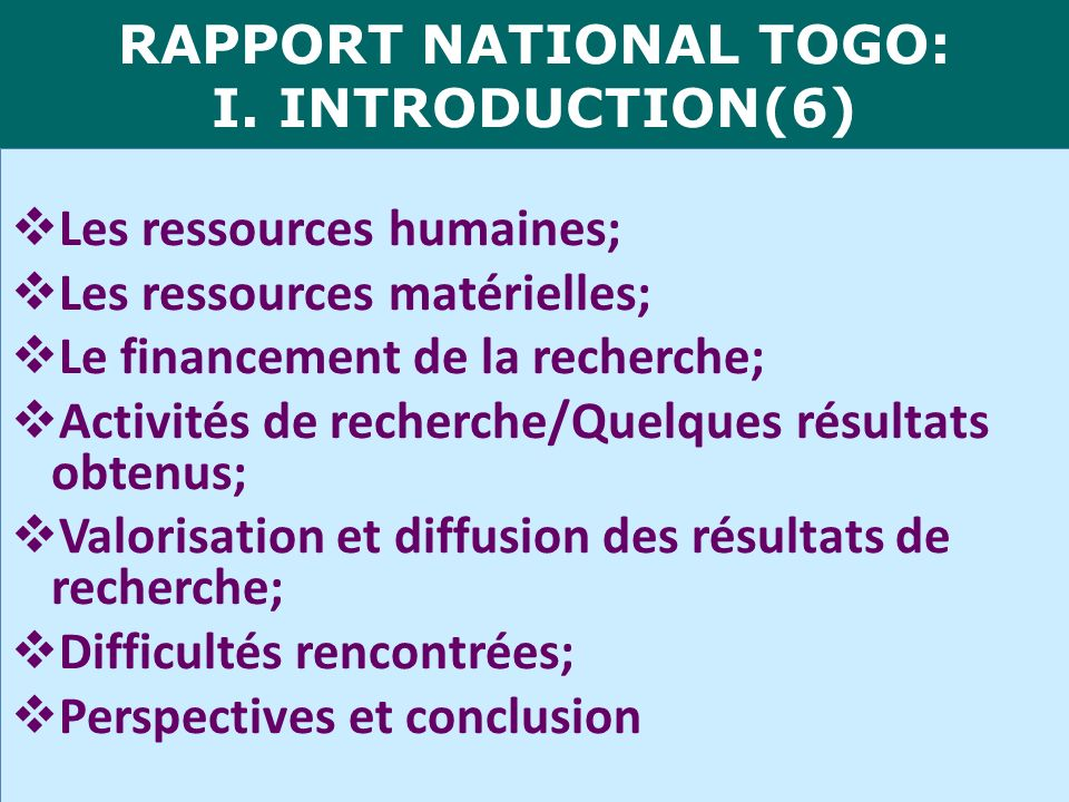 RAPPORT NATIONAL TOGO: I. INTRODUCTION(6)