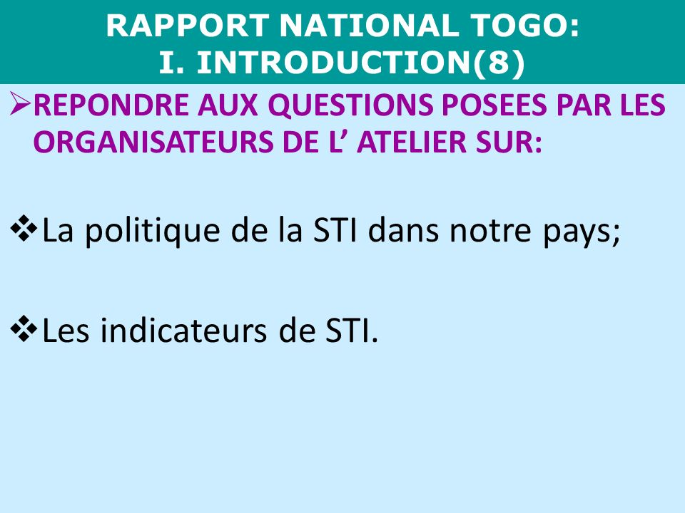RAPPORT NATIONAL TOGO: I. INTRODUCTION(8)