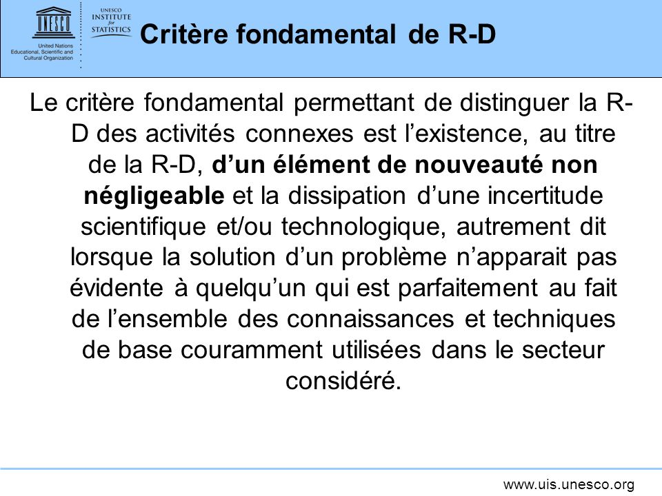 Critère fondamental de R-D