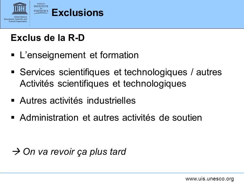 Exclusions Exclus de la R-D L'enseignement et formation
