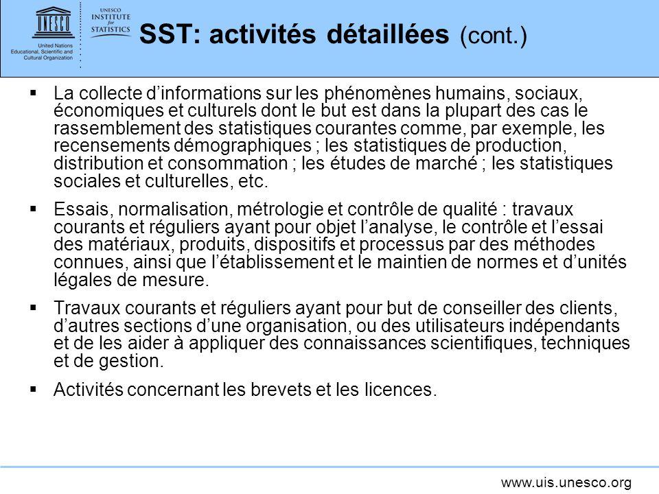 SST: activités détaillées (cont.)