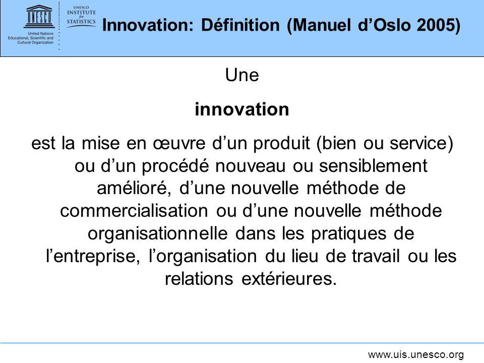Innovation: Définition (Manuel d'Oslo 2005)