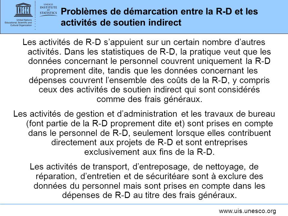 Problèmes de démarcation entre la R-D et les activités de soutien indirect