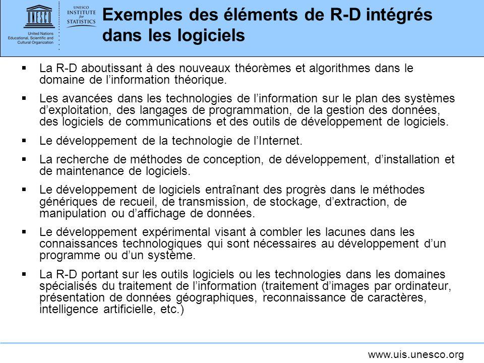 Exemples des éléments de R-D intégrés dans les logiciels