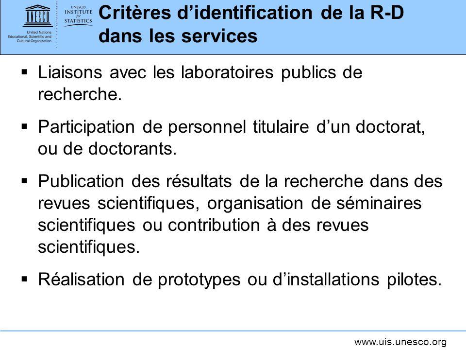 Critères d'identification de la R-D dans les services