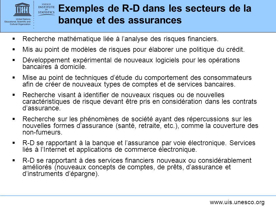 Exemples de R-D dans les secteurs de la banque et des assurances