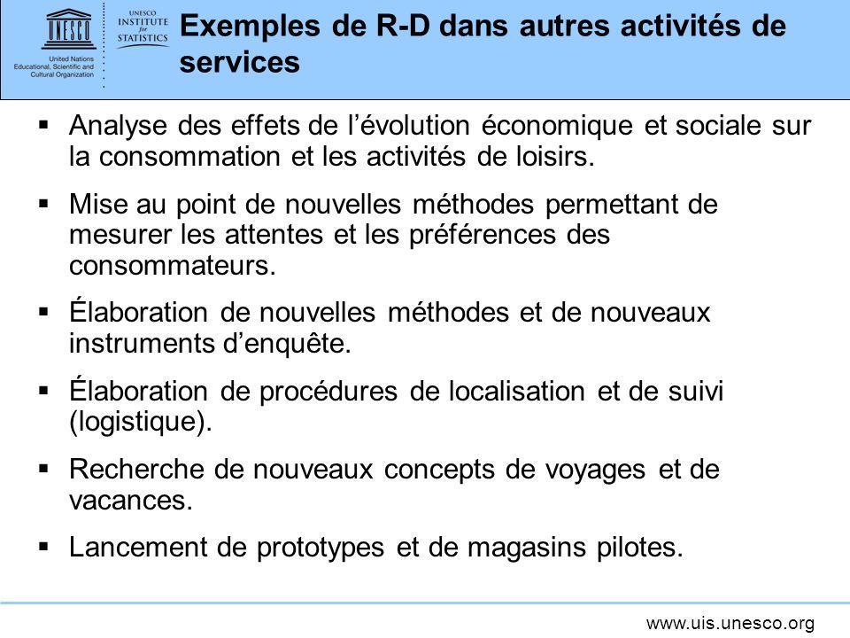 Exemples de R-D dans autres activités de services