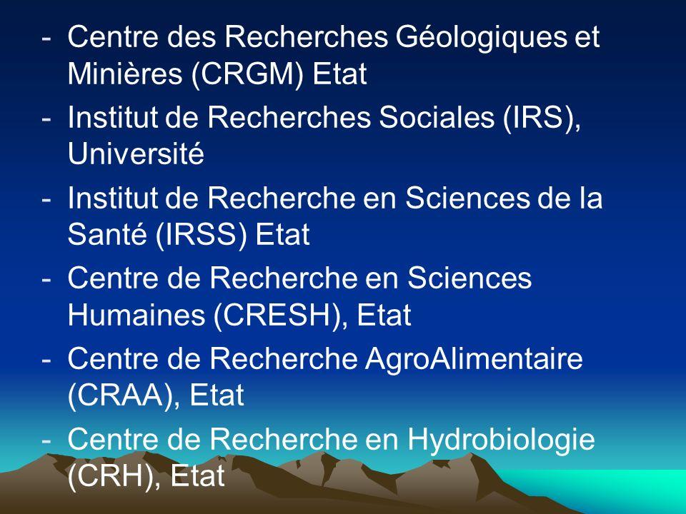 Centre des Recherches Géologiques et Minières (CRGM) Etat